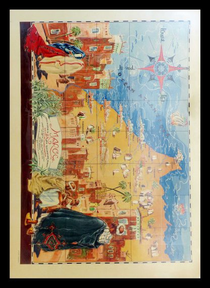 "(alt=original vintage travel poster map of MAROCCO by C. GARRIAT 1947"")"