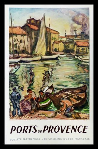 "(alt=""original vintage travel poster Ports de Provence, South of France, SNCF, French Railways, signed Othon Friesz MARIN 1949"")"