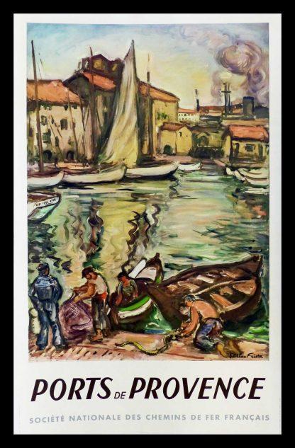 "(alt=""original vintage travel poster Ports de Provence, South of France, SNCF, French Railways, signed Othon Friesz MARIN 1949"")"