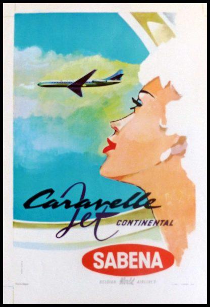 """(alt=""""original transportation poster Caravelle Jet Continental by SABENA Belgian air lines, Gaston VAN DEN EYNDE circa 1950"""")"""