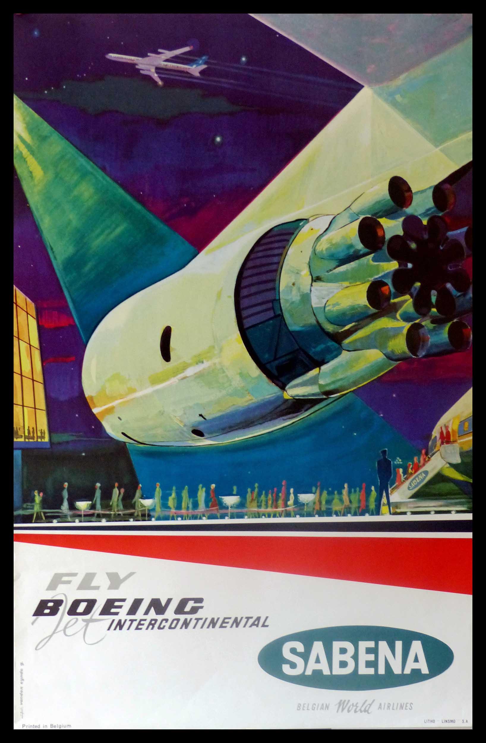 "(alt=""original transportation poster Fly Jet BOEING Intercontinental by SABENA Belgian air lines, Gaston VAN DEN EYNDE circa 1950"")"