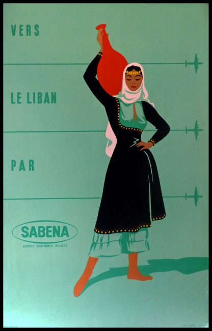 "(alt=""original transportation poster to LEBANON by SABENA Belgian air lines Anonymous circa 1950"")"