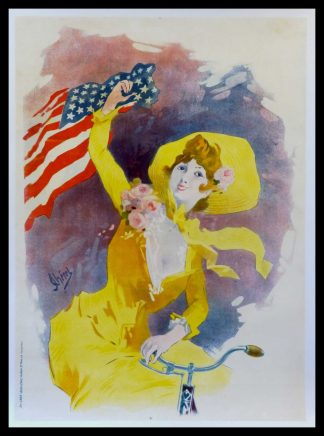 """(alt=""""original vintage poster Cycles Cleveland United States before letter signed in the plate Jules CHERET art nouveau 1900"""")"""