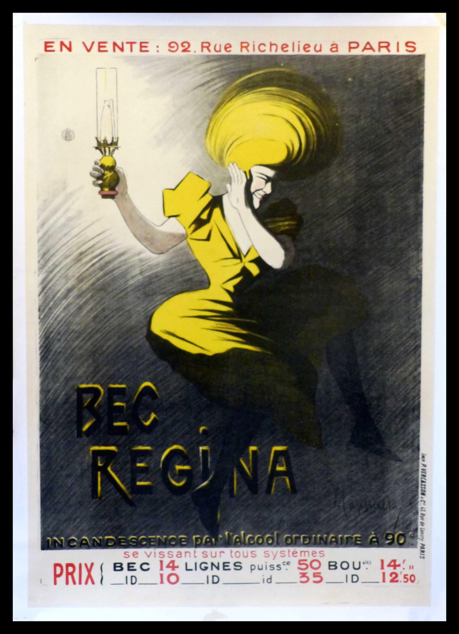 "(alt=""original vintage poster BEC REGINA Leonetto CAPPIELLO art nouveau period, signed in the plate, 1901"")"