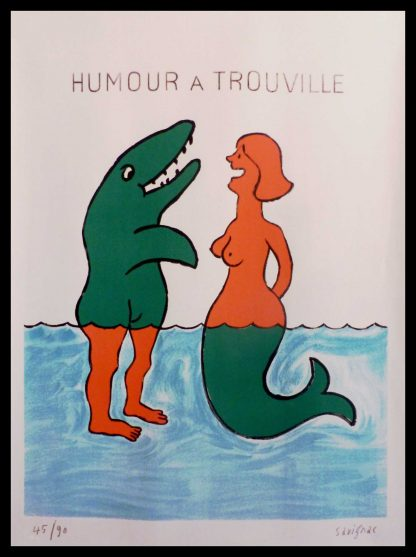 "(alt=""original travel poster humour à Trouville Normandy signed Raymond SAVIGNAC and numbered 45/90 circa 1980"")"