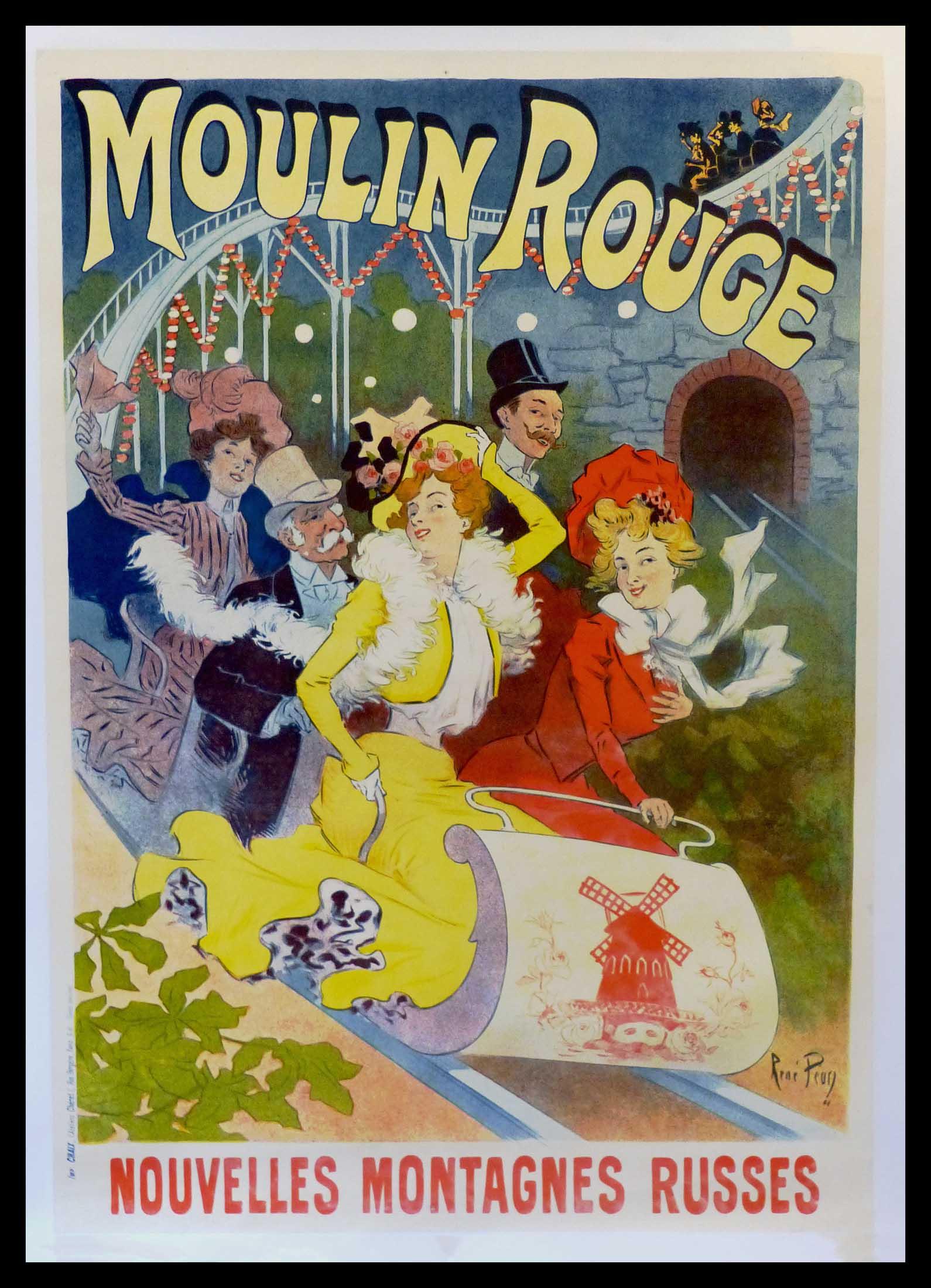 """(alt=""""original vintage poster MOULIN ROUGE René PEAN signed in the plate art nouveau 1900"""""""
