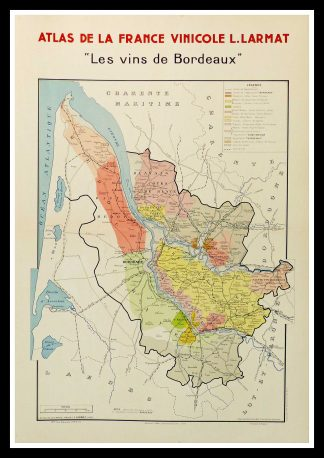 "(alt=""original wine poster wine atlas of france Les vins de Bordeaux Louis LARMAT 1880"")"