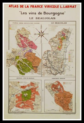 """(alt=""""original wine poster wine atlas of france Les vins de Bourgogne, le Beaujolais Louis LARMAT 1880"""")"""