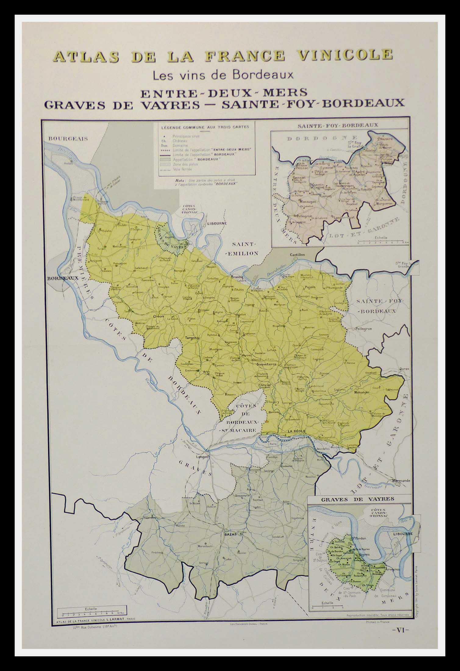 """(alt=""""original wine poster wine atlas of france Les vins de Bordeaux Graves Louis LARMAT 1880"""")"""
