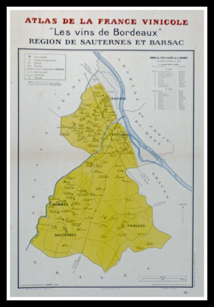 "(alt=""original wine poster wine atlas of france Les vins de Bordeaux Sauternes, Barsac, Louis LARMAT 1880"")"