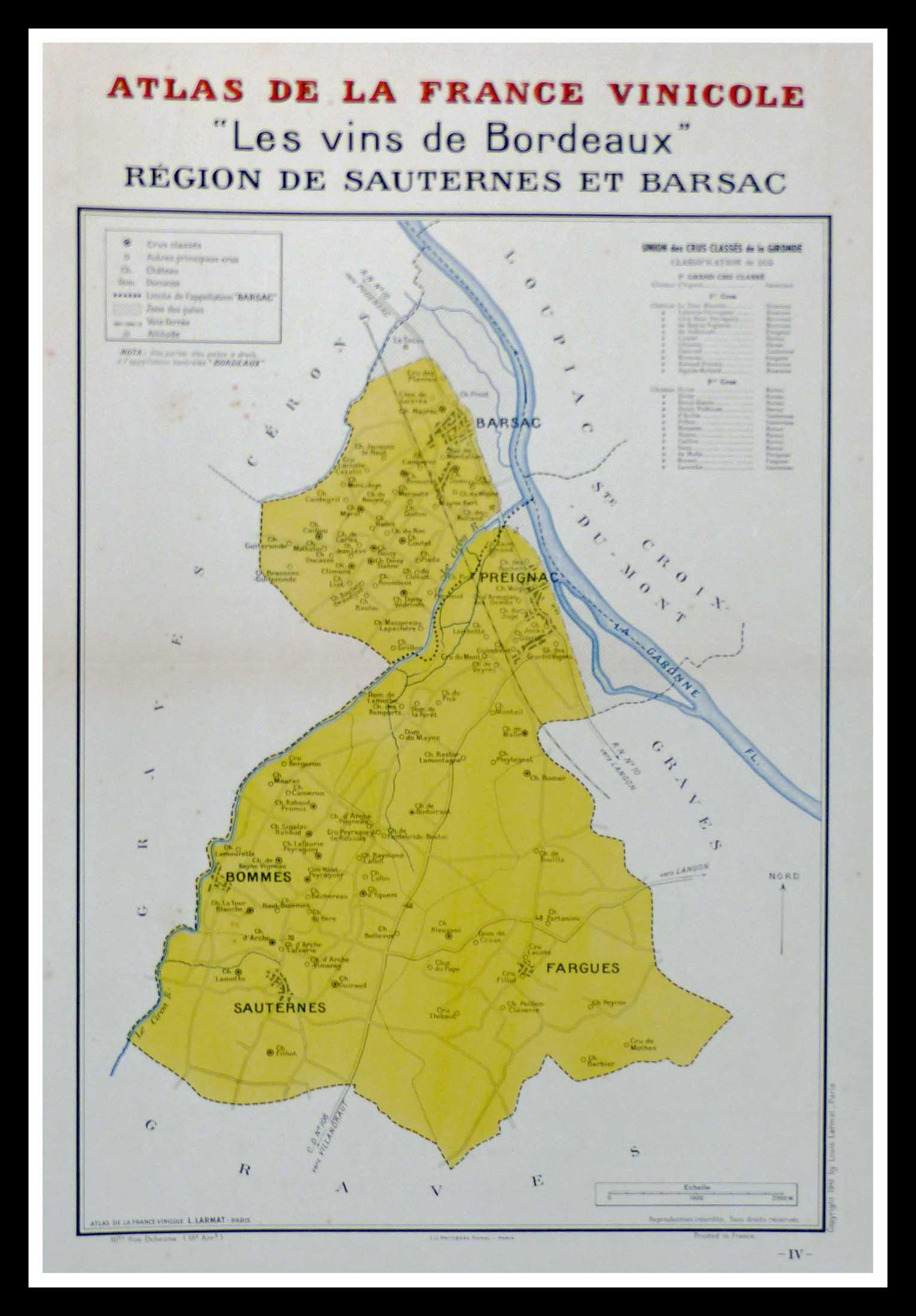 """(alt=""""original wine poster wine atlas of france Les vins de Bordeaux Sauternes, Barsac, Louis LARMAT 1880"""")"""