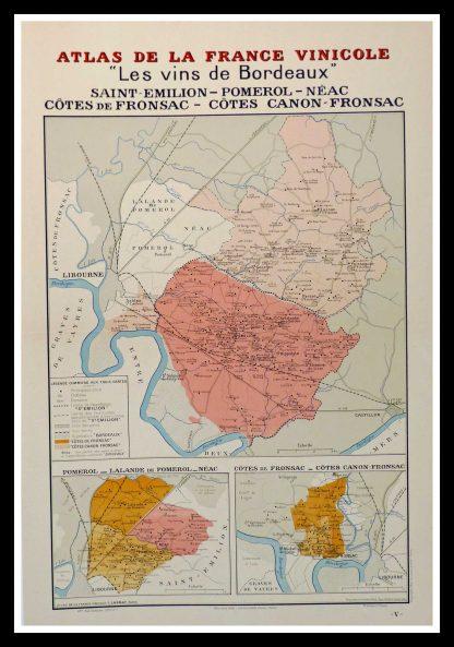 """(alt=""""original wine poster wine atlas of france Les vins de Bordeaux Saint-Emilion, Pomerol, Fronsac Louis LARMAT 1880"""")"""