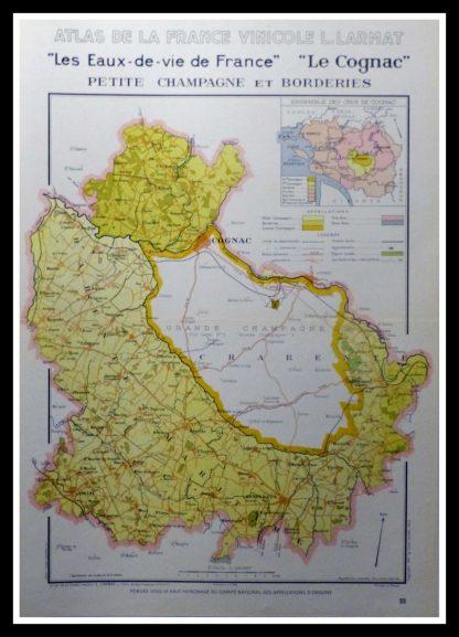 """(alt=""""original wine poster wine atlas of france Cognac, petite champagne, les eaux de vie Louis LARMAT 1880"""")"""