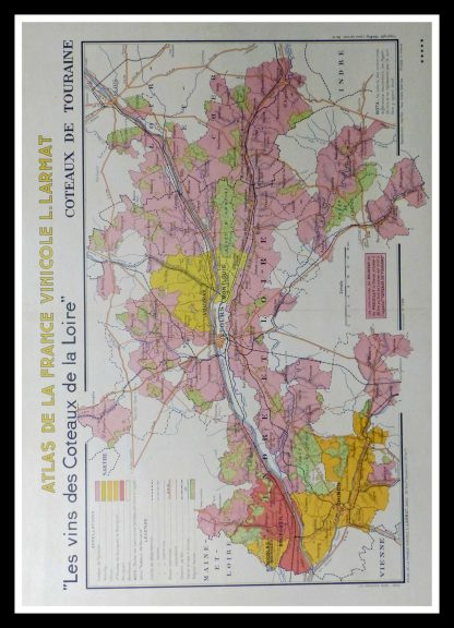 "(alt=""original wine poster wine atlas of france Les coteaux de la Loire et de Touraine Louis LARMAT 1880"")"