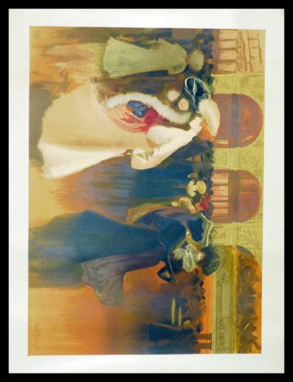 "(alt=""original lithography Abel TRUCHET la quadrille art nouveau period and signed in the plate 1900"")"