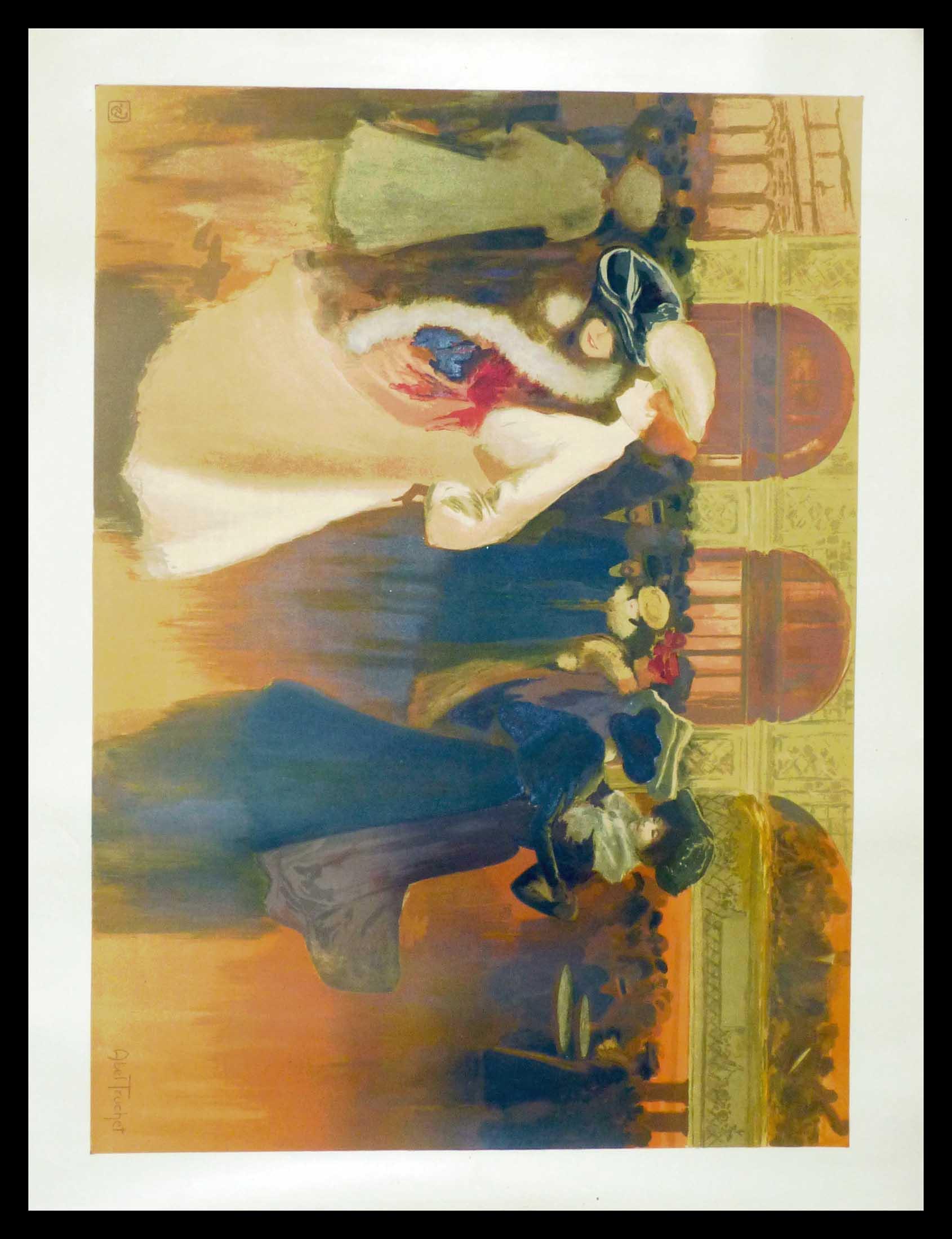 "(alt=""original lithography Abel TRUCHET la quadrille art nouveau period and signed in the plate 1900"")"