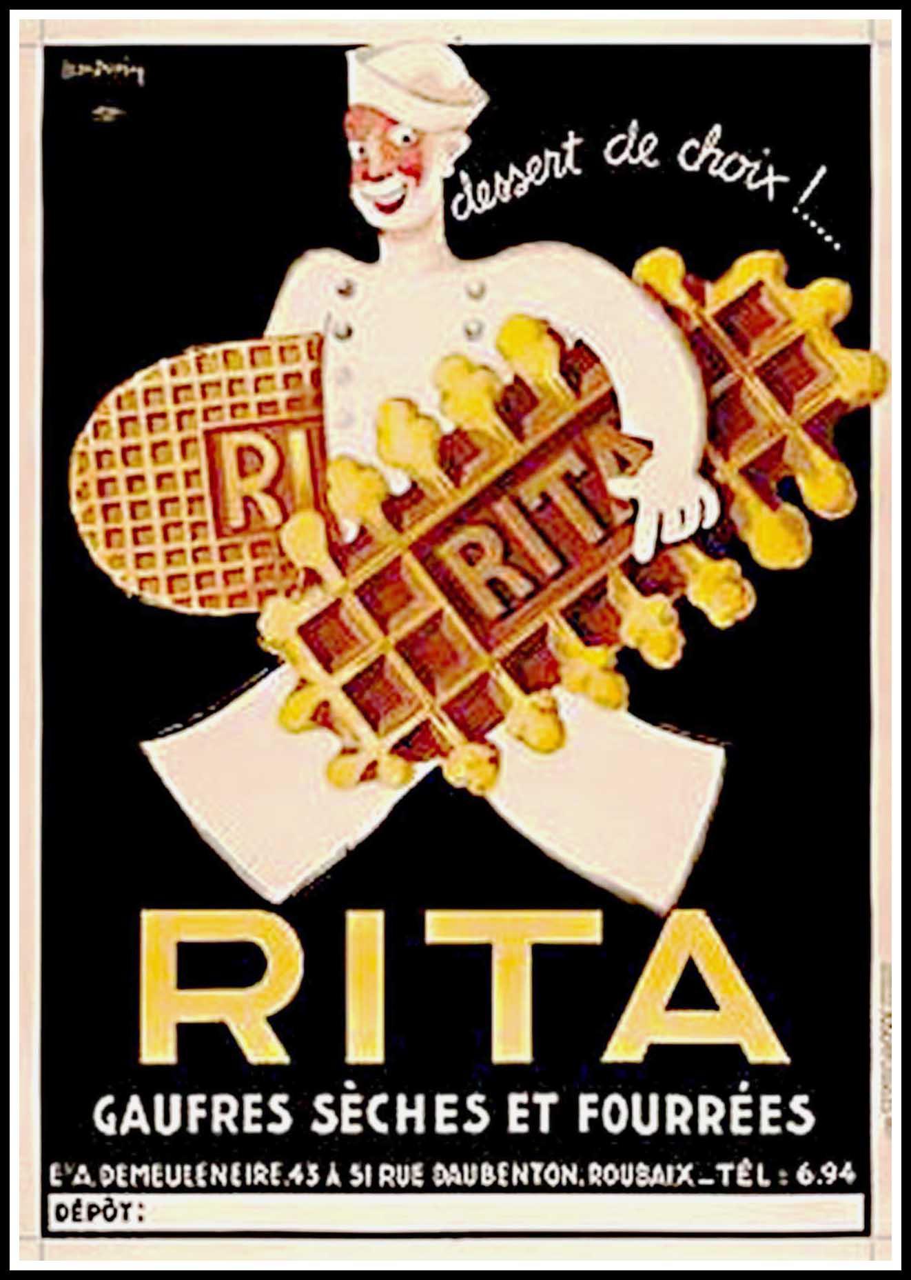 """(alt=""""original advertising Rita Biscuit signed Léon DUPIN circa 1930"""