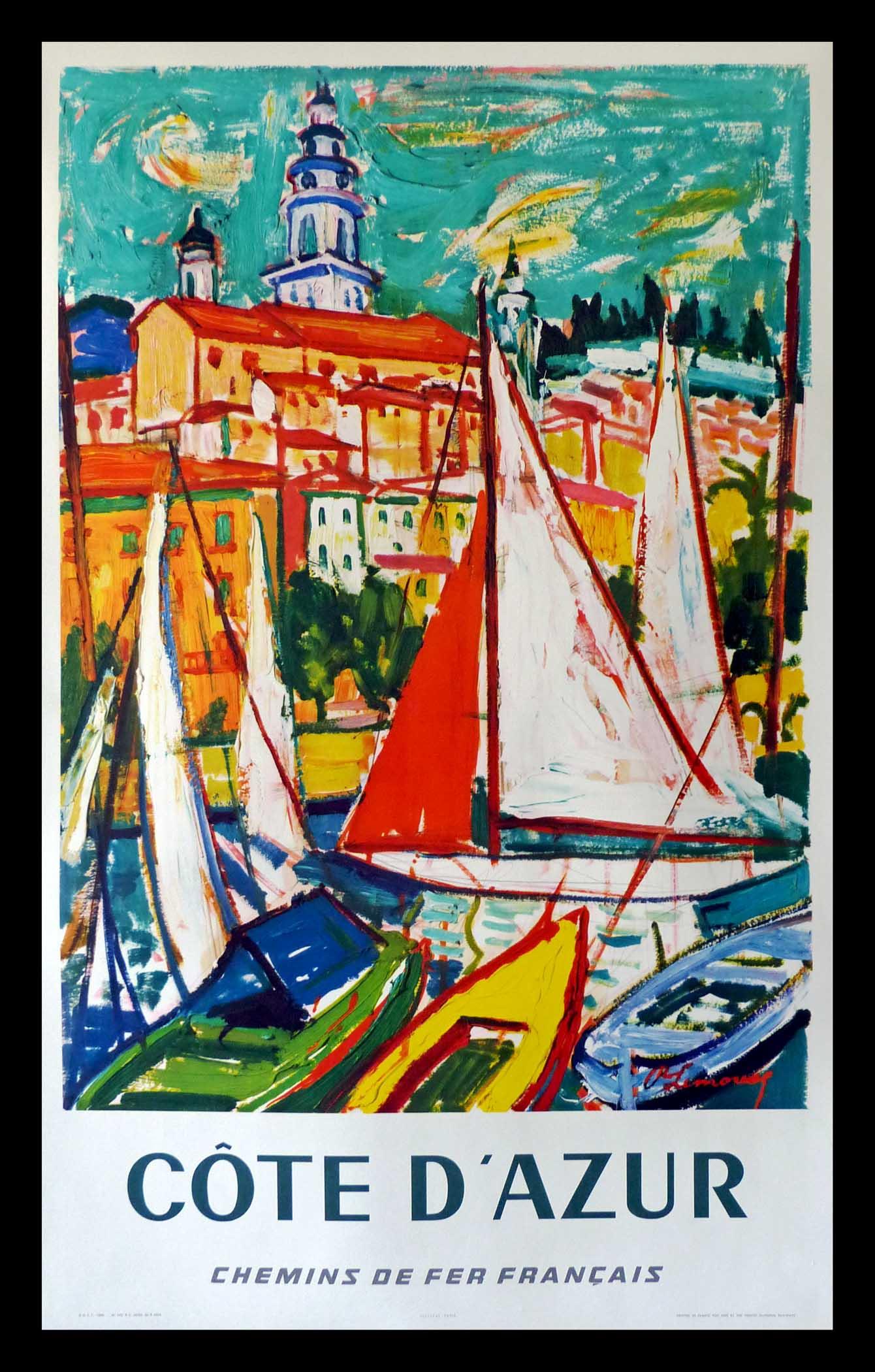 "(alt=""original travel poster Côte d'Azur South of France signed LINOUX 1965"")"