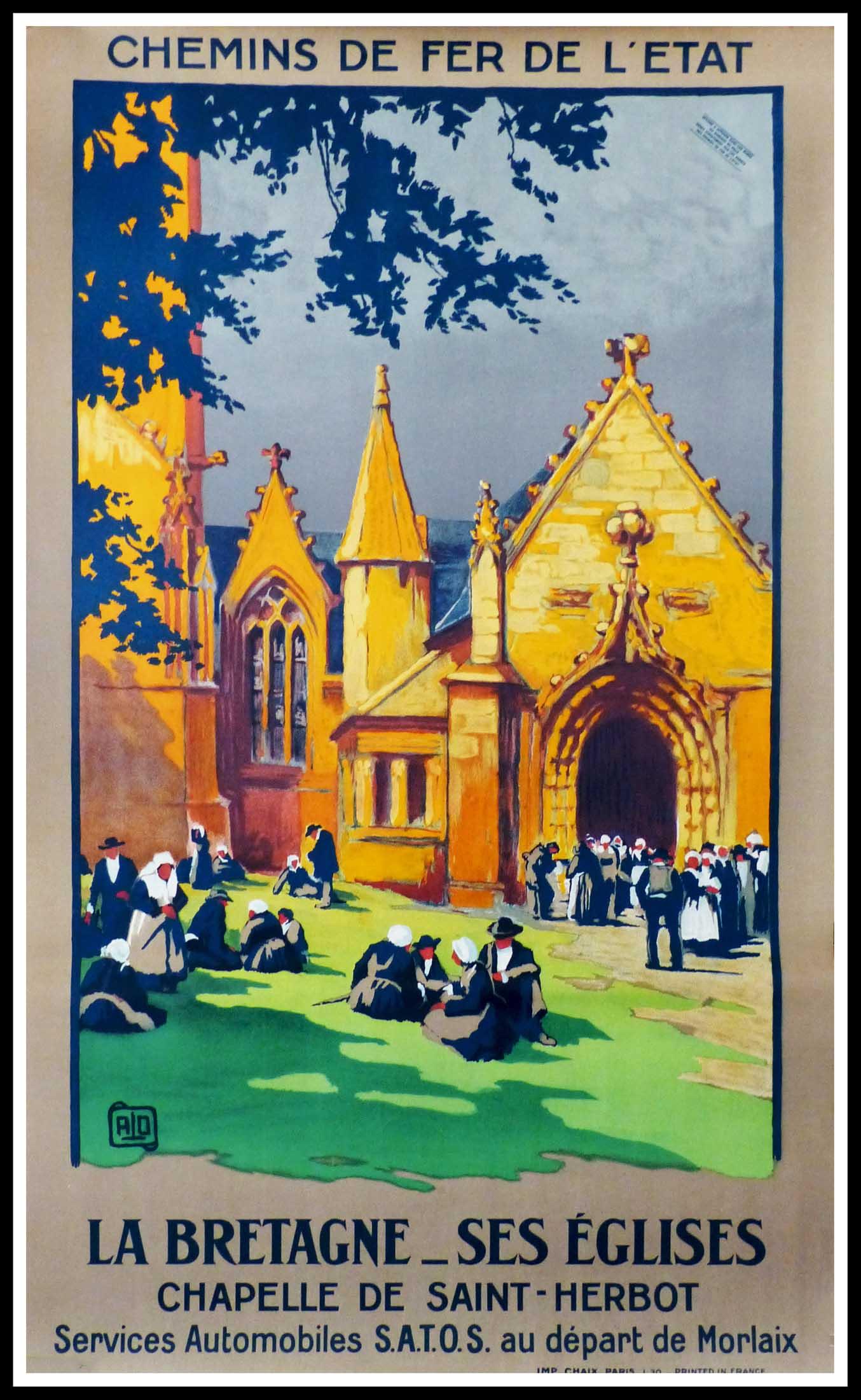 """(alt=""""original tourism poster Brittany Morlaix signed ALO 1920"""")"""
