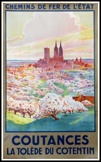 "(alt=original travel poster COUTANCES la Tolède du Cotentin signed in the plate art deco circa 1920"")"