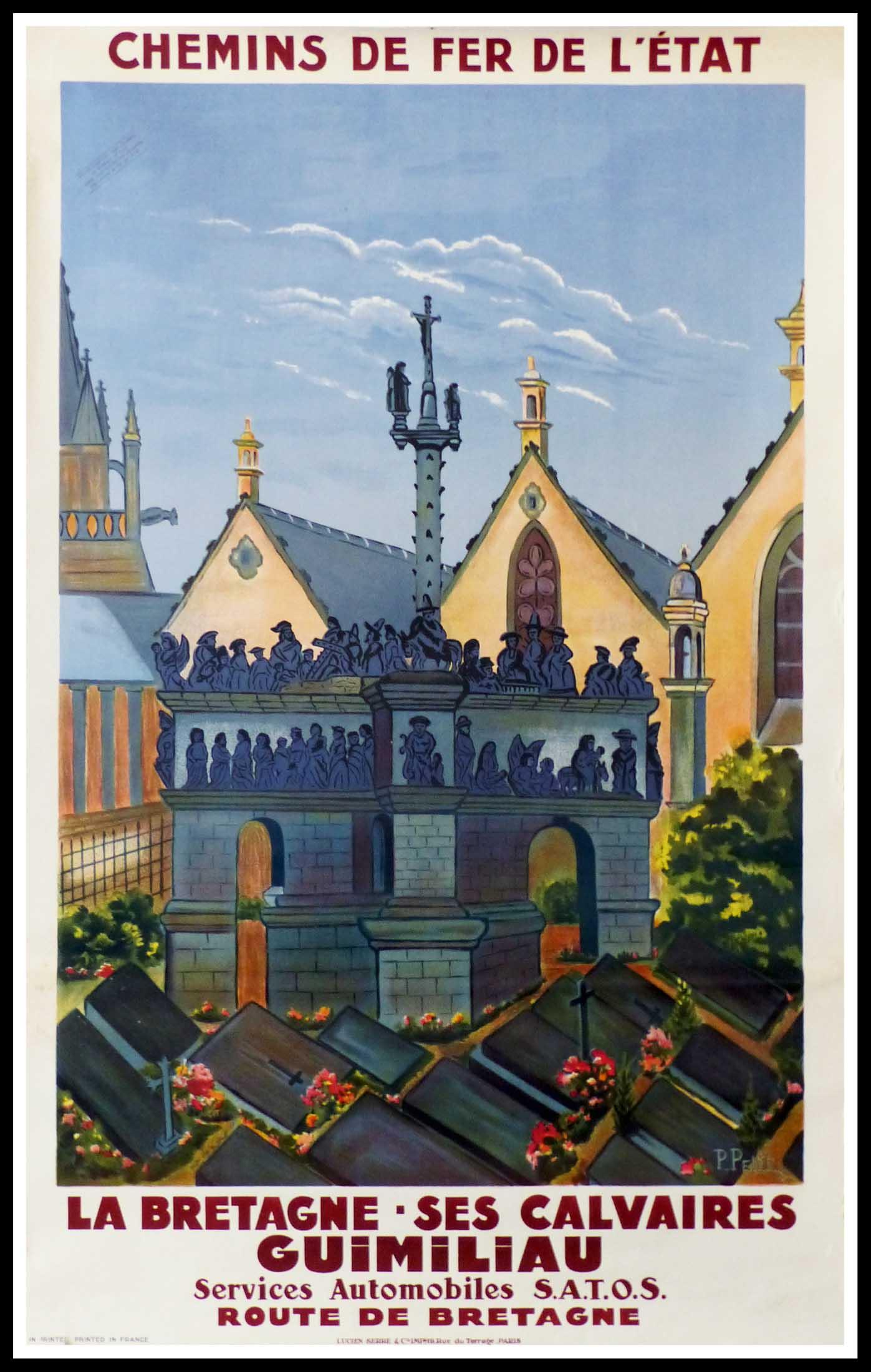 "(alt=""original vintage travel poster BRITTANY, la Bretage ses calvaires GUIMILIAU signed in the plate P. PETIT 1920"")"