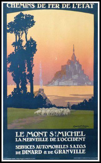 """(alt=""""original vintage tourism Le Mont St Michel Normandy French railways signed CONSTANT DUVAL 19203°"""