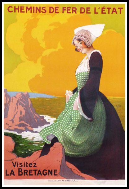 "(alt=""original vintage travel poster Visit Brittany Chemins de fer de l'état signed J. STALL circa 1930 RARE"")"