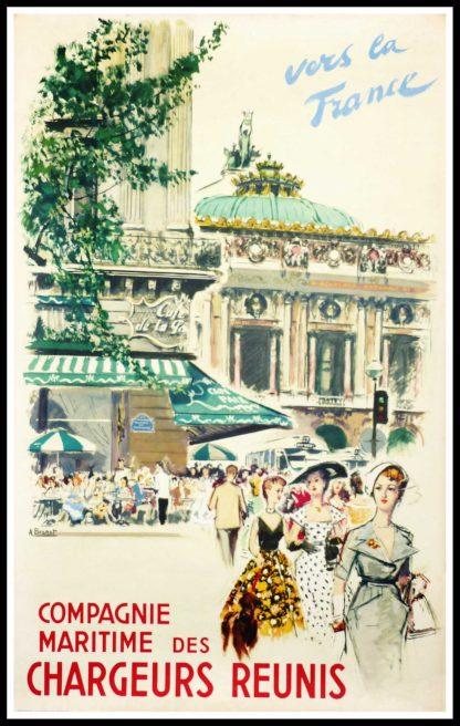 "(alt=""original travel poster Compagnie Maritimes des chargeurs réunis PARIS Opéra Garnier signed in the plate Albert BRENET circa 1950"")"