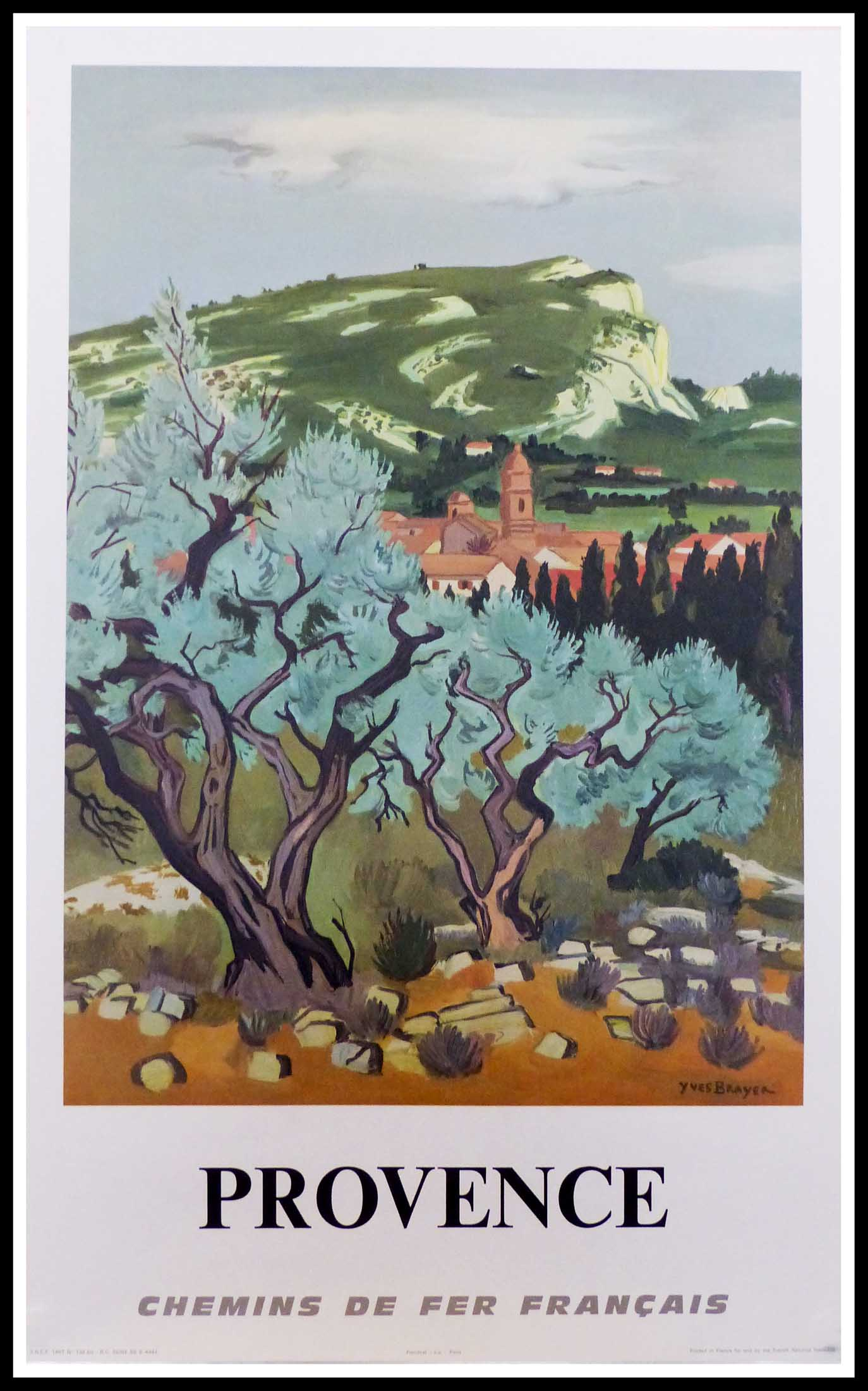 """(alt=""""original vintage travel poster PROVENCE south of France SNCF French Railways signed in the lithography Yves BRAYER 1967"""")"""