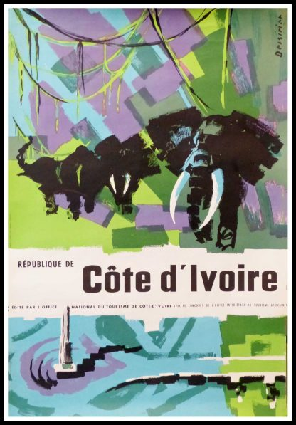 "(alt=""original vintage travel poster République de Côte d'Ivoire signed in the plate DESSIRIER circa 1950"")"