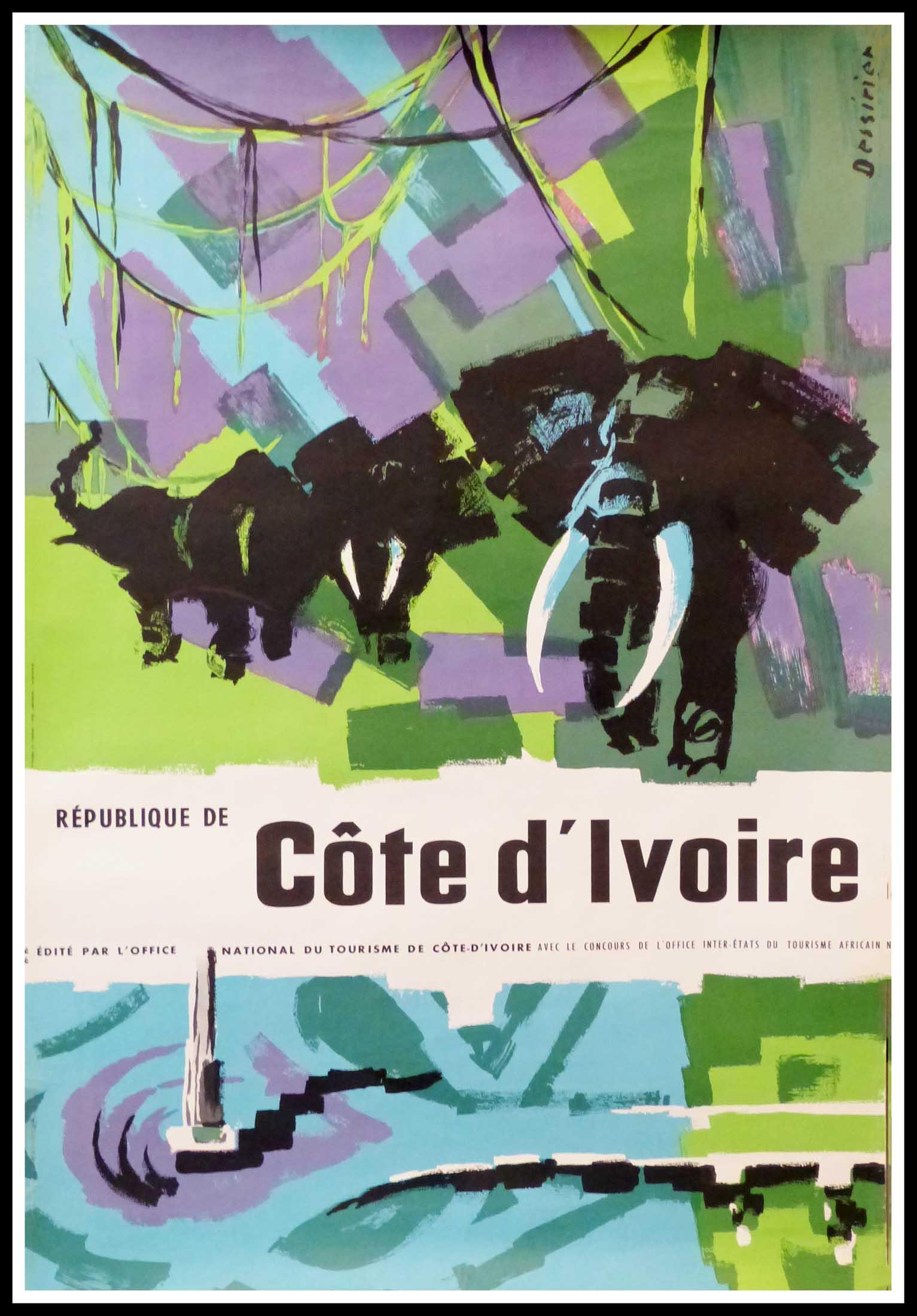 """(alt=""""original vintage travel poster République de Côte d'Ivoire signed in the plate DESSIRIER circa 1950"""")"""