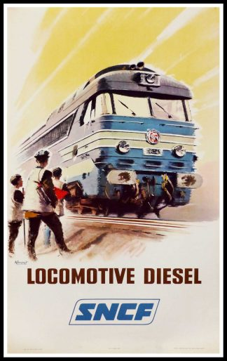 "(alt=""original vintage poster SNCF French Railways Locomotive Diesel signed in the plate Albert BRENET 1965"")"