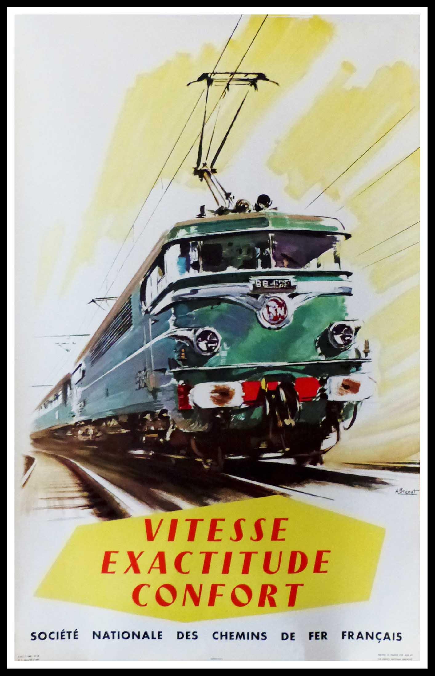 """(alt=""""original vintage poster SNCF French Railways Vitesse exactitude Confort signed in the plate Albert BRENET 1958"""")"""