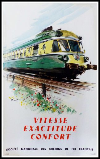 "(alt=""original vintage poster SNCF French Railways Vitesse exactitude Confort signed in the plate Albert BRENET 1960"")"