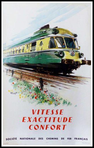 """(alt=""""original vintage poster SNCF French Railways Vitesse exactitude Confort signed in the plate Albert BRENET 1960"""")"""