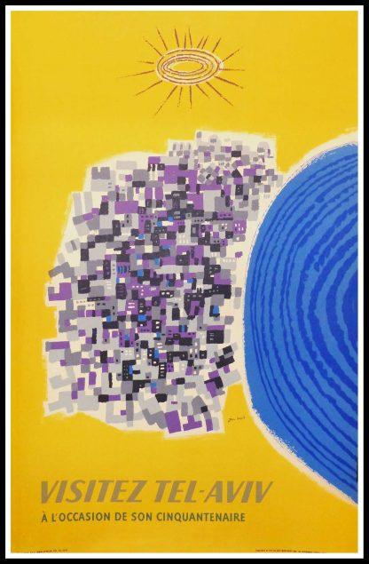 """(alt=""""original vintage travel poster VISITEZ TEL AVIV signed in the plate Jean DAVID 1959"""")"""