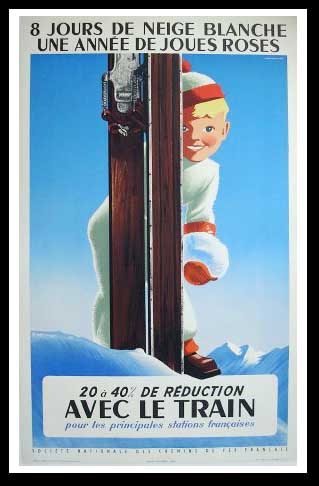 "(alt=""original vintage winter sport poster 8 jours de ski signed Roland HUGON 1956"")"