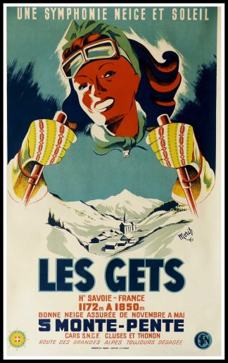 "(alt=""affiche ancienne originale MORIS station de ski Les GETS circa 1950"")"