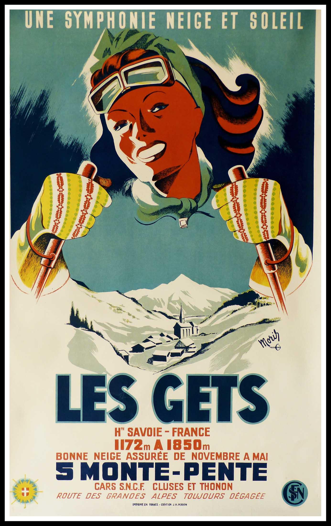 """(alt=""""affiche ancienne originale MORIS station de ski Les GETS circa 1950"""")"""