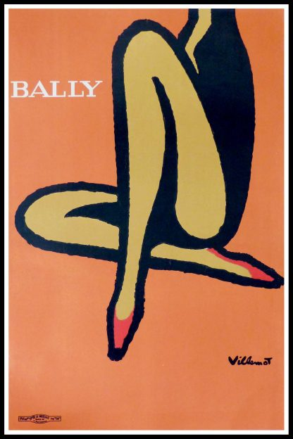 "(alt=""original vintage poster VILLEMOT Bally lotus 1967)"