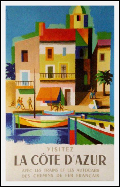 """(alt=""""original vintage poster Visitez la Côte d'Azur SNCF signed NATHAN GARAMOND 1963"""
