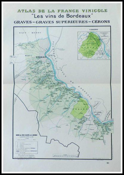 """(alt=""""original vintage french wine maps Atlas Vinicole Les vins de Bordeaux Graves, Graves supérieures Céron Louis LARMAT 19423°"""
