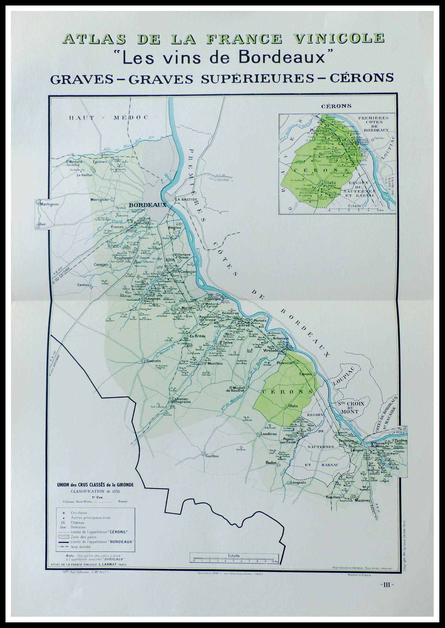 Carte originale des vins - Atlas vinicole de France - Les vins de Bordeaux, Graves, Graves ...