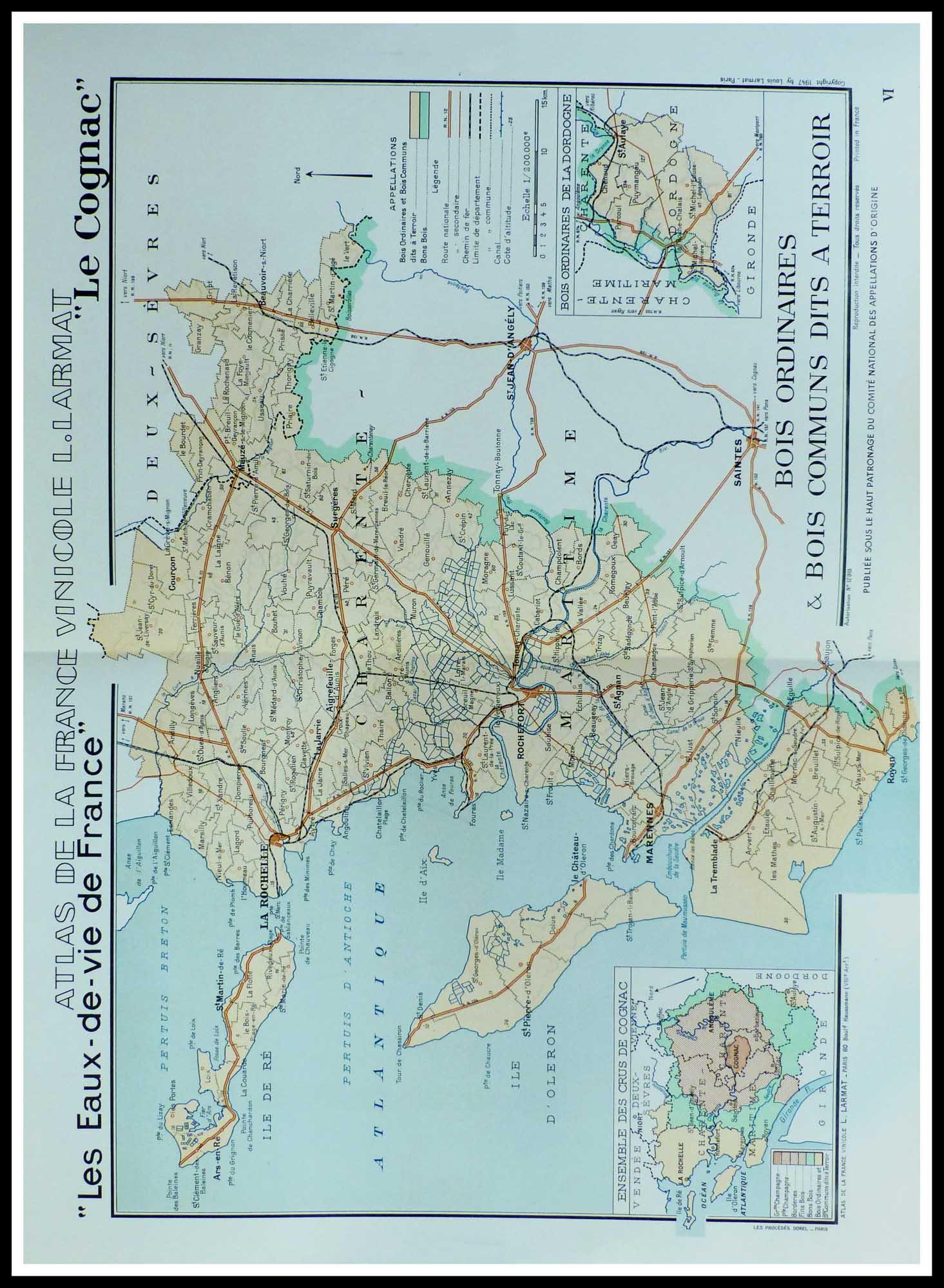 """(alt=""""original french wine maps COGNAC Louis LARMAT 1942"""")"""