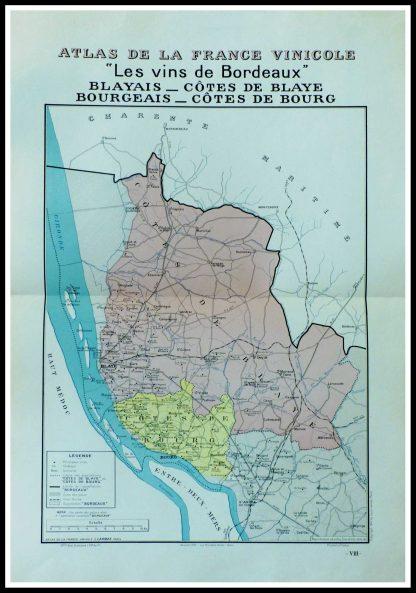 """(alt=""""original vintage french wine maps les vins de Bordeaux, Blayais, Côte de Blaye Bourgeais, côte de Bourg Louis LARMAT 1942"""")"""
