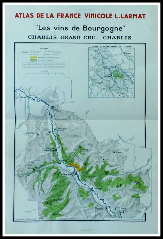 "(alt=""original french wine maps les vins de Bourgogne, Chablis Grand cru Louis LARMAT 1942"") Cru"