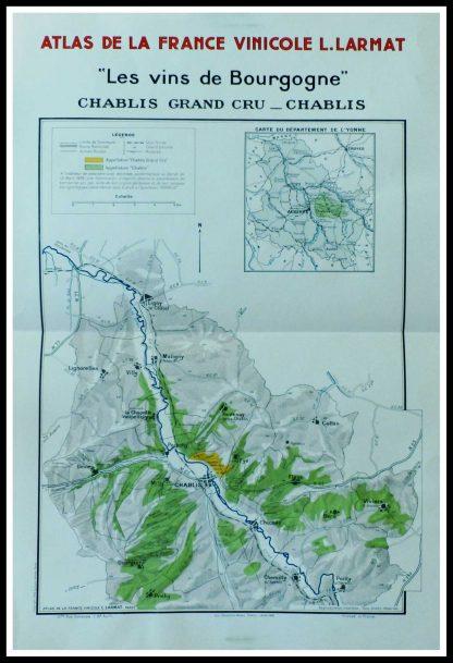 """(alt=""""original french wine maps les vins de Bourgogne, Chablis Grand cru Louis LARMAT 1942"""") Cru"""