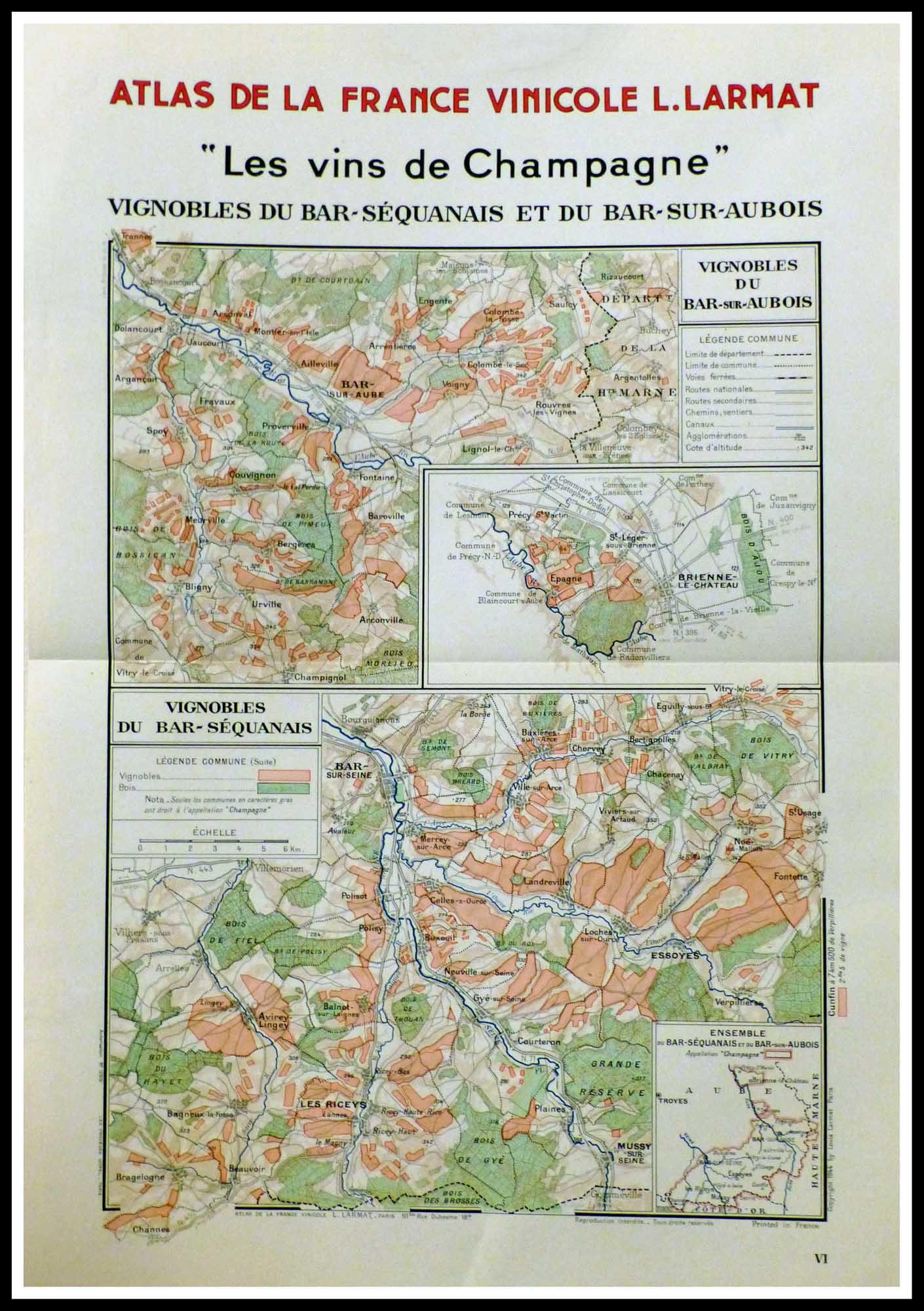 "(alt=""original vintage french wine maps, Atlas of France wine, Champagne wine Louis LARMAT 1942"")"