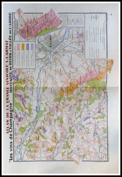 """(alt=""""original vintage french wine maps les vins de Champagne REIMS Louis LARMAT 1942"""")"""