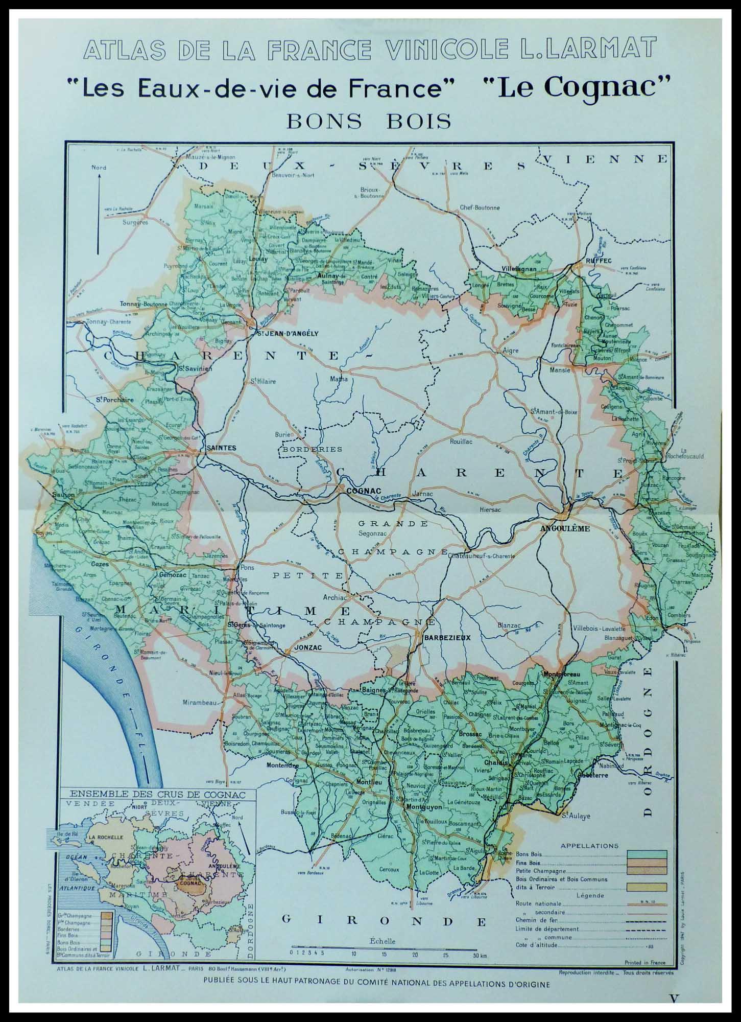 """(alt=""""original vintage french wine maps COGNAC eaux de vie Louis LARMAT 1942"""")"""